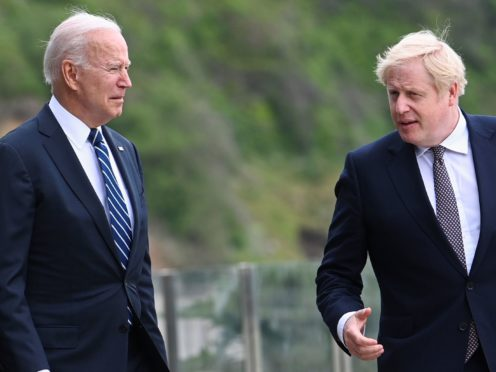 US President Joe Biden and Prime Minister Boris Johnson are due to give a statement alongside the Australian prime minister (Toby Melville/PA)