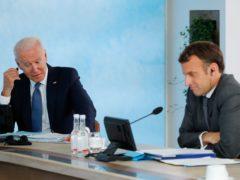 Joe Biden and Emmanuel Macron during the G7 summit in Cornwall (Phil Noble, PA)