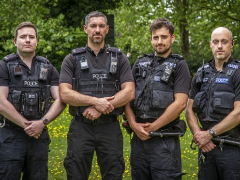 (l to r) Pc James Packman, Pc Liam King, Pc Liam Steele and Sgt Iain Watkinson are being honoured (Jason Bye/Thames Valley Police/PA)