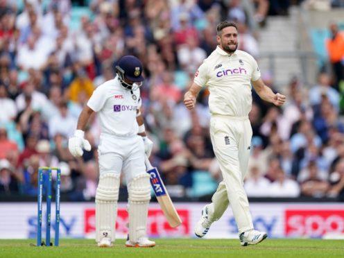 Chris Woakes celebrates a wicket (Adam Davy/PA)