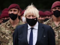 Prime Minister Boris Johnson meets members of 16 Air Assault Brigade at the Brigade Headquarters at Merville Barracks in Colchester, Essex, following their recent deployment to Afghanistan (Dan Kitwood/PA)