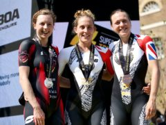 Jess Learmonth (centre) led a British one-two-three (Steven Paston/PA)