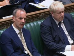 Foreign Secretary Dominic Raab with Prime Minister Boris Johnson (House of Commons/PA)