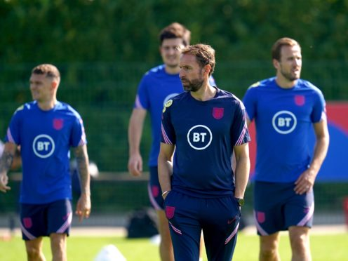 Gareth Southgate, centre, does not believe his contract situation is any kind of disruption (Nick Potts/PA)