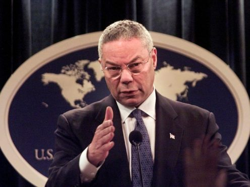 In 2001 Secretary of state Colin Powell speaks at the State Department in Washington (Hillery Smith Garrison/AP)