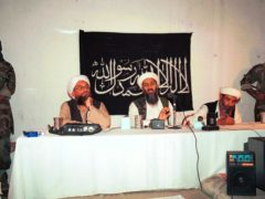 File photo of Ayman al-Zawahri, centre left, and Osama bin Laden, centre, hold a news conference in Afghanistan (AP)