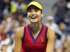 Emma Raducanu celebrates defeating Maria Sakkari to reach the US Open Women's Final (ZUMA/PA)