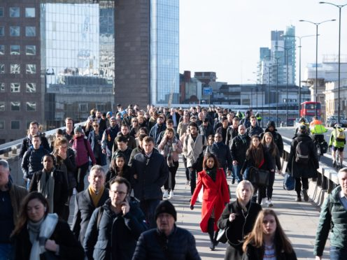 UK worker numbers rebounded above pre-pandemic levels in August (Dominic Lipinski/PA)