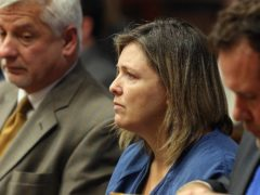 Angela Wagner sits next to her lawyers in the Pike County Common Pleas Court (Brooke LaValley/AP)