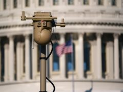 A video surveillance apparatus is seen on the East Front of the Capitol in Washington (J. Scott Applewhite/AP)