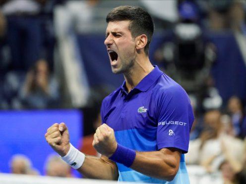 Novak Djokovic roars after beating Alexander Zverev (John Minchillo/AP)