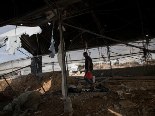 A Palestinian man inspects the damage of a poultry farm (AP)