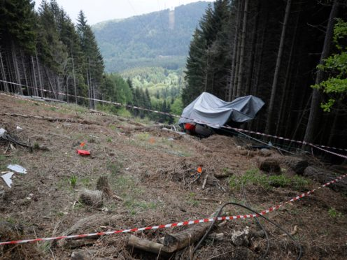 The site of the tragedy near the summit of the Stresa-Mottarone line in the Piedmont region (AP)
