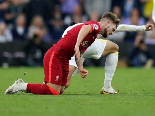 Harvey Elliott goes down injured against Leeds (Mike Egerton/PA)