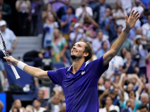 Daniil Medvedev, of Russia, reacts after defeating Novak Djokovic, of Serbia, during the men's singles final of the US Open (John Minchillo/AP)