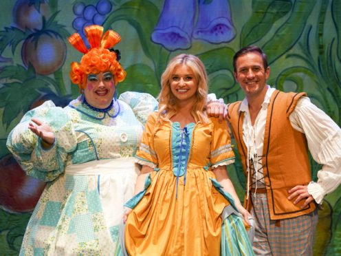 (L to R) Jack Edwards as Dame Trott, Amy Hart as Princess Jill, and Sean Smith as Jack in Jack And The Beanstalk at the Kings Theatre in Southsea (Steve Parsons/PA)