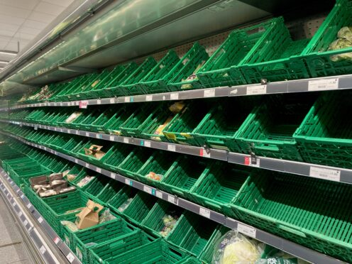 Empty supermarket shelves (Kirsty O'Connor/PA)