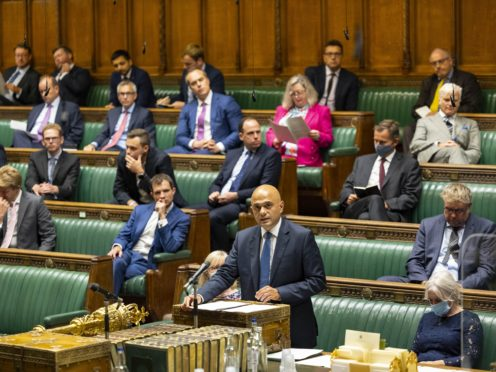 Health Secretary Sajid Javid during his statement of Covid-19 in the House of Commons (House of Commons/PA)
