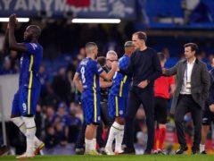 Thomas Tuchel congratulates the Chelsea players (John Walton/PA)