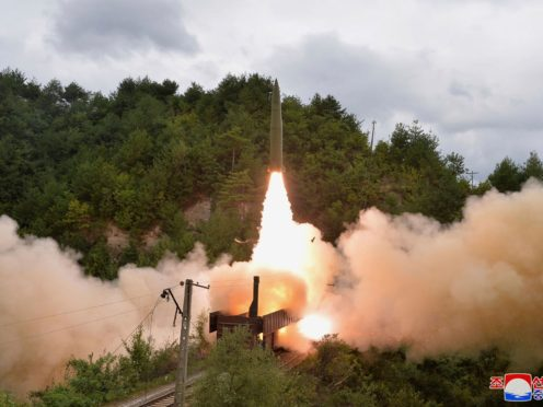 A test missile is launched from a train in North Korea (Korean Central News Agency/Korea News Service via AP)