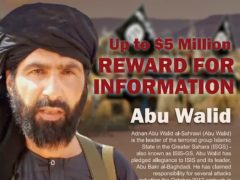 A wanted posted of Adnan Abu Walid al-Sahrawi (Rewards For Justice/AP)