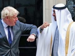 Prime Minister Boris Johnson welcomes Sheikh Mohammed bin Zayed Al Nahyan, Crown Prince of the Emirate of Abu Dhabi, to 10 Downing Street (PA)
