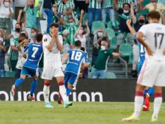 Jaunmi celebrates after scoring his second goal for Betis (Miguel Morenatti/AP)