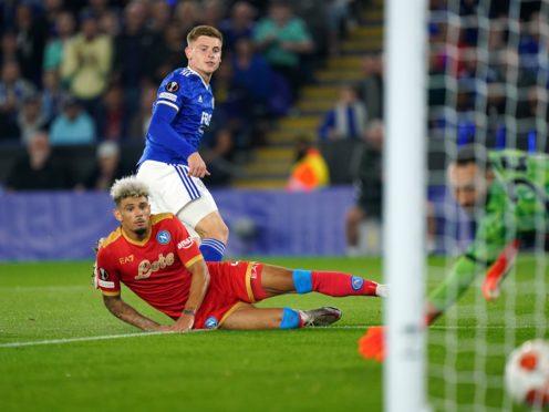 Harvey Barnes scored Leicester's second goal against Napoli. (Mike Egerton/PA)
