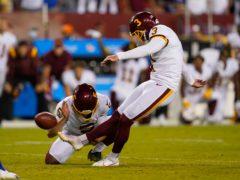 Washington Football Team kicker Dustin Hopkins makes the winning field goal against the New York Giants (Alex Brandon/AP)