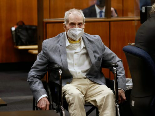 Robert Durst spins in place in his wheelchair as he looks at people in court during his trial in Inglewood, California (Al Seib/Los Angeles Times/AP/Pool)