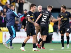 Adam Lewis pictured after Livingston's win over Celtic (Andrew Milligan/PA)