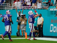Buffalo Bills tight end Dawson Knox (88) celebrates during the 35-0 win over Miami Dolphins (Wilfredo Lee/AP/PA)