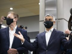 Mayor of London Sadiq Khan and Transport Secretary Grant Shapps at the newly opened Battersea Power Station London Underground station, south London (David Mirzeoff/PA)