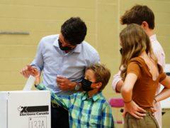 Justin Trudeau casts his ballot (Sean Kilpatrick/The Canadian Press via AP)