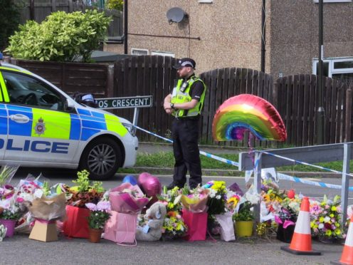 Flowers near to the scene in Chandos Crescent, Killamarsh, near Sheffield, where the bodies of John Paul Bennett, 13, Lacey Bennett, 11, their mother Terri Harris, 35, and Lacey�s friend Connie Gent, 11, were discovered at a property on Sunday morning. Picture date: Tuesday September 21, 2021.
