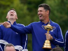 Captain Padraig Harrington, right, and Matt Fitzpatrick are hoping Europe are laughing on Sunday night (AP)