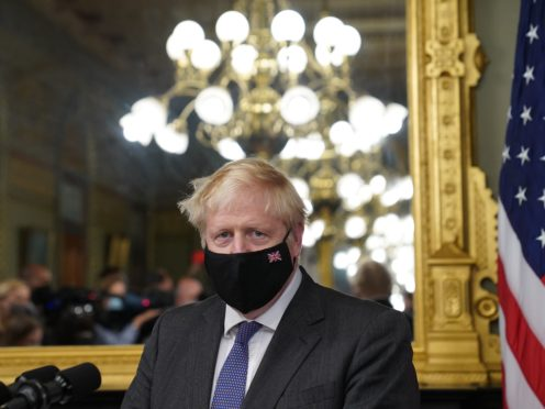 Prime Minister Boris Johnson in the vice president's office in the Eisenhower Executive Office Building, next to the White House (Stefan Rousseau/PA)