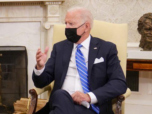 US President Joe Biden during a meeting with Prime Minister Boris Johnson (Stefan Rousseau/PA)