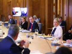 First Minister Paul Givan and deputy First Minister Michelle O'Neill attend the first in-person Executive meeting since last October (Press Eye/PA)