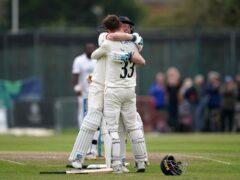 Lancashire's Dane Vilas celebrates after hitting the winning runs (Martin Rickett/PA)