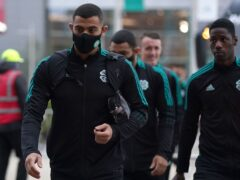Celtic's Giorgos Giakoumakis, left, was injured in the warm-up (Andrew Milligan/PA)
