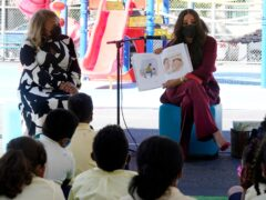 Meghan, the Duchess of Sussex, reads from her book The Bench during her visit with Prince Harry, to PS 123, the Mahalia Jackson School, in New York's Harlem neighbourhood (Richard Drew/AP)