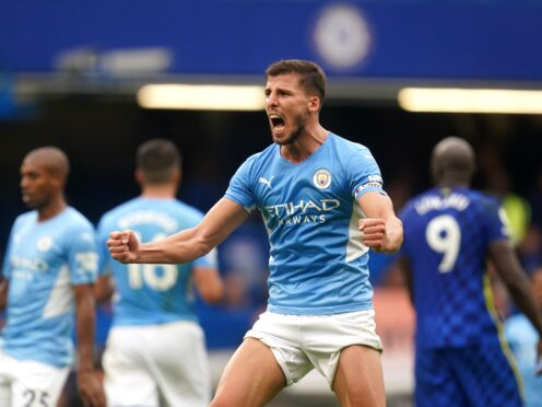 Manchester City defender Ruben Dias celebrated at the final whistle of Saturday's 1-0 win over Chelsea (Adam Davy/PA)