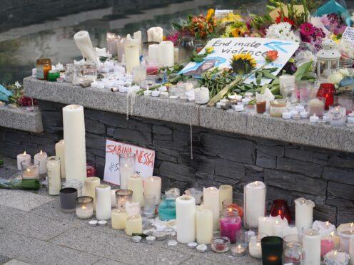 Tributes left for Sabina Nessa at Pegler Square in Kidbrooke, south London (Dominic LIpinski/PA)