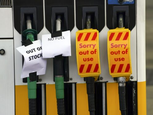 A petrol station in Bracknell, Berkshire, which has no fuel (Steve Parsons/PA)