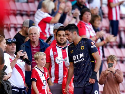 Wolves striker Raul Jimenez speaks to Southampton fans at the end of the match (Adam Davy/PA)