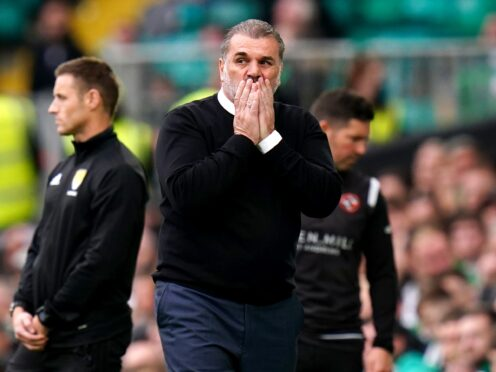 Celtic manager Ange Postecoglou reacts during the draw with Dundee United (Jane Barlow/PA)