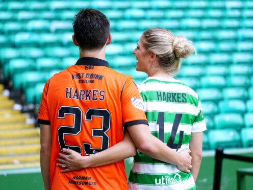 Dundee United's Ian Harkes, left, and his wife Sarah Harkes of Celtic Women (Jane Barlow/PA)