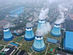 Cooling towers at a coal-fired power station in Nanjing in east China's Jiangsu province (Chinatopix via AP)