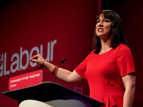 Shadow chancellor Rachel Reeves giving her keynote speech at the Labour Party conference at the Brighton Centre (PA)